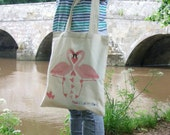 Flamingo Love Illustrated Cotton Tote Bag