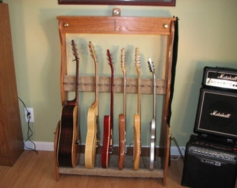 Handcrafted Solid Oak Guitar Stand