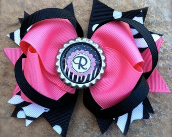 Monogrammed Bottle Cap Hair Bow with Zebra Print Hot Pink and Black Ribbons