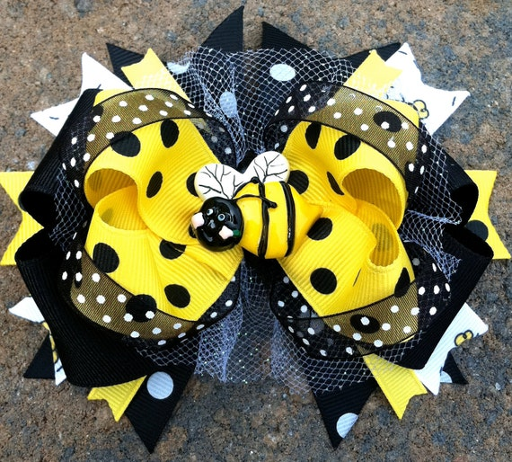 BUMBLEBEE HAIR BOW Boutique Style Over the Top Large Busy Bee Hair bow ...