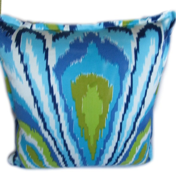 Trina Turk Pillows -  Blue Peacock Print - Indoor or Outdoor