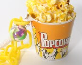 Movie Buttered Popcorn and Candy Necklace with 80s Plastic Chain