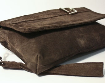 The Classic Clutch in Rich Chocolate Brown Suede