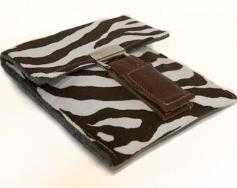 Stylish Case for Ipod Touch / Iphone, DROID etc in Brown and Cream Zebra Print
