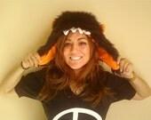 Black Furry Monster Bomber Hat
