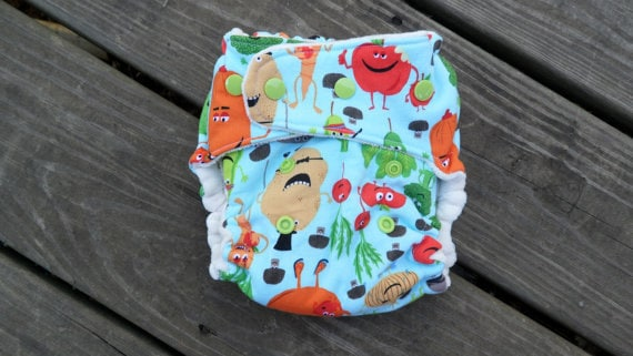 Edgy Veggie Fitted Cloth Diaper
