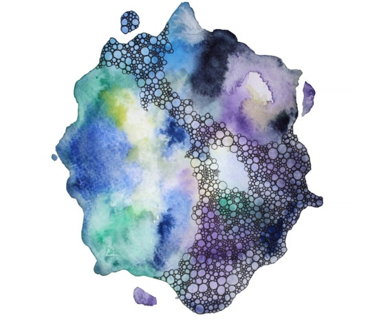 CONVERGENCE abstract watercolor art print in blue, green, purple