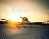 Airplane at Sunset - 8x12 Fine Art Print