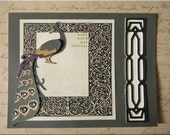 Peacock card, vintage, art nouveau, antique, greeting, birthday, gift card