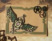 The Scarab Card - art nouveau, gears, steampunk, antique design, blank card, gift card holder