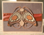 The Moth Card - art nouveau, antique, orange ribbon, blank inside