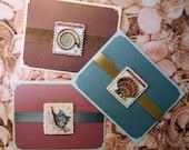 Set of three shell cards, blank inside, nautical, beach themed, seashells