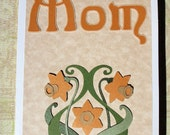 Mother's Day Card - Flowers for mom, yellow daffodil, art nouveau,