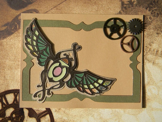The Scarab Card - art nouveau, gears, steampunk, antique design, blank card, gift card holder