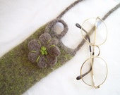 Wool Eyeglass Case, With Strap for Across Body Wear, Hand Knit