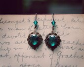 Green Crystal Antique Gold Earrings