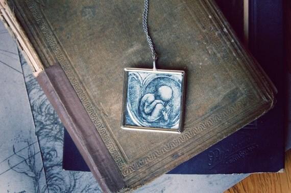 Leonardo Da Vinci Baby Anatomy Drawing Necklace