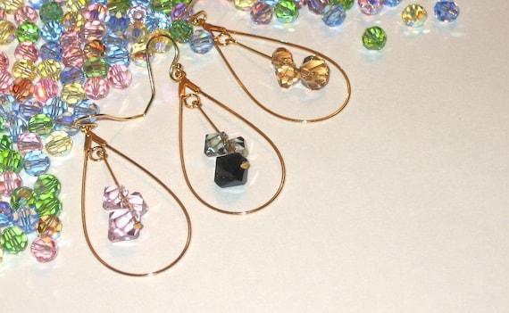 SALE swarovski crystal gold silver hoop earrings