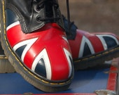 Dr. Marten's Union Jack Boots PLUS matching Vintage roller skates case to store them in...