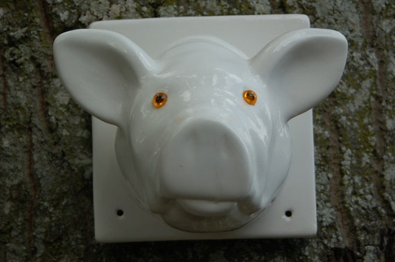 Vintage White Ceramic Pig Head Towel Holder Coat By Wabimysabi