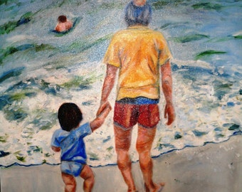 Little Boy's First Time in the Ocean  Tropical Beach Scene Kids Playing on the Beach Original Oil Painting by Marlene Kurland