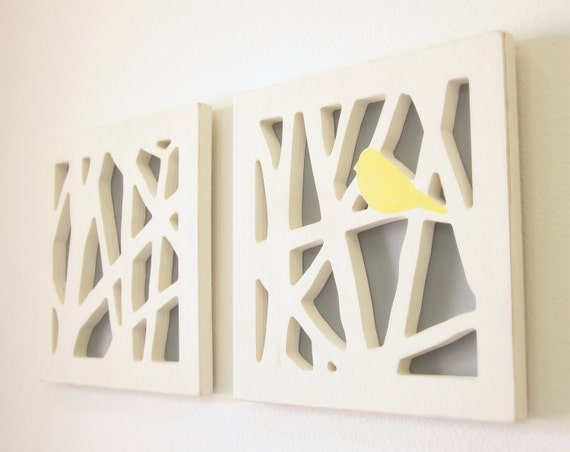 yellow bird wall art set yellow and gray wall by. Black Bedroom Furniture Sets. Home Design Ideas