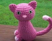 THINK PINK Sitting Pretty Kitty - Raspberry Cat with Safety Eyes and Safety Nose (Finished Doll)