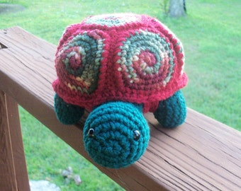Amigurumi Turtle Doll - Holly and Ivy - Vibrant Colored Turtle With Removable Shell (FINISHED Doll) - OOAK