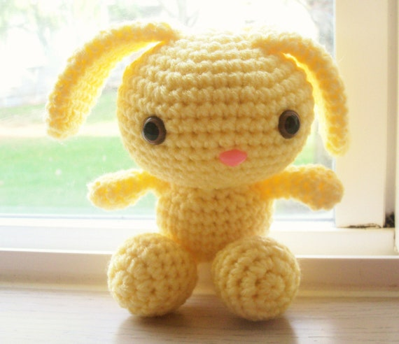 RESERVED FOR KARLA1LILY - Cute Spring Bunny - Light Lemon Yellow Crochet Bunny Doll (Finished Doll)