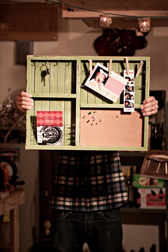 Items similar to mail organizer with cork board on etsy for Cork board organizer