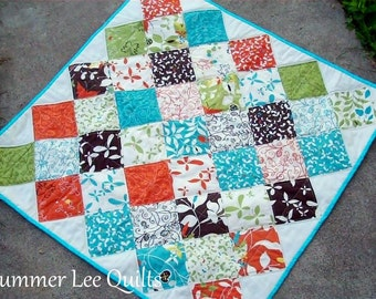Modern Patchwork Baby Quilt with Butterflies in Brown, Orange, Blue, and Green - Ready to Ship