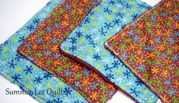 Baby Wash Cloths - Minky Backed in Blue and Brown- Set of 4 - Ready to Ship