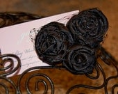 Three Black Rosette Flowers with Black Russian Netting Clip