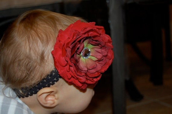 Medium Deep Red Flower Clip