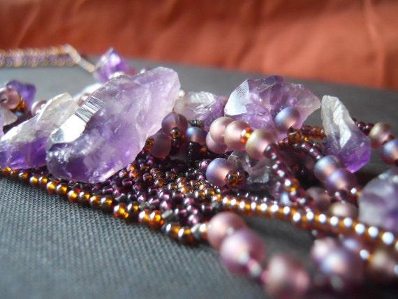 Purple amethyst gemstone beadwork necklace