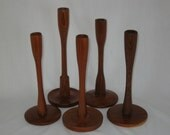 Mid Century Vintage Hand-turned Wooden Candlesticks 5 pc. Collection