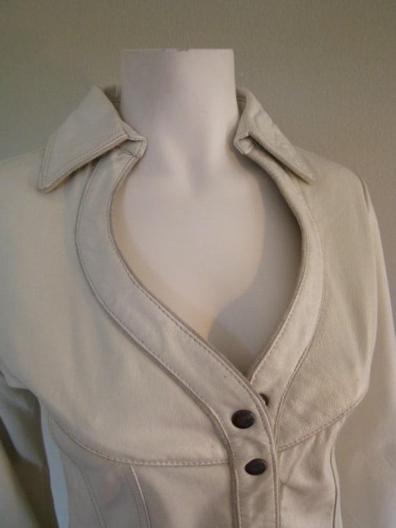 VINTAGE 70's White Leather ROCKER Jacket  size small