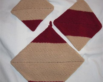 Crocheted Potholders:set of 3 Beige & Rust