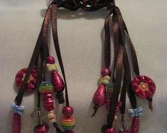 Hair Clips with Ribbons and Beads....set of 2....hand made...brown/brown