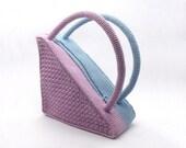 Crochet Triangle Purse Handmade Two Colors Bag Blue Purse Lilac Unique Handbag Summer Bag Trendy Women's Bag - CB0009 - Aimarro