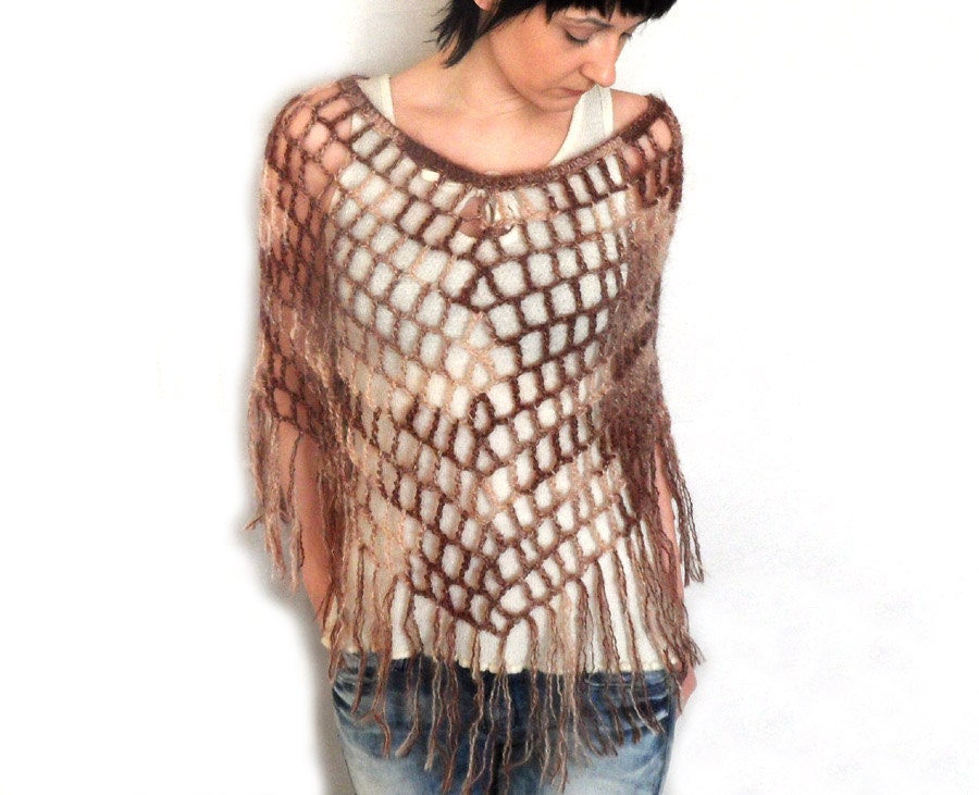 Free Crochet Pattern Lacy Poncho : Crochet Fringed Poncho Mohair Lace Spiderweb Poncho Lacy