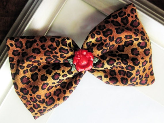 Leopard Rose Hair Bow Pin Up Style Handmade