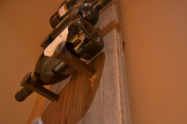Wine rack made of recycled barn wood