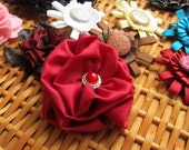 Red Satin Flower Brooch with Sparkling Bead