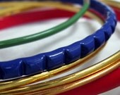 Vintage Enamel & Gold Jingle Bracelets Musical Multicolor Collection of 6 Metal Bangles Primary Colors Red Blue Gold with Green Bright Shiny