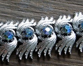 Coro Pegasus Silvery Bracelet with Amazing, Huge Blue AB Rhinestones