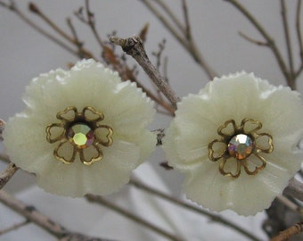 Vintage Pearly Plastic Clip on Earrings with AB Rhinestone centers