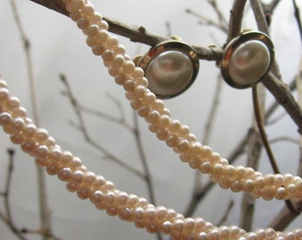 50% off !  Yes More Pearls :)  Tiny Pale Pink Faux Pearls in a 3 Strand Twist and Pearl Cabochon Clip/Screwback Earrings