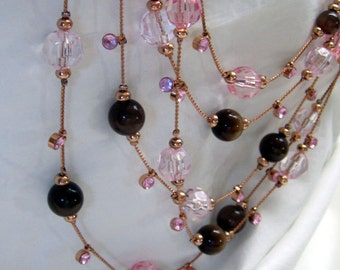 New Lower Price!   Vintage 5 Strand Pink Crystal & Cats Eye Beads with Rhinestones Copper Chain Necklace with Matching Dangle Earrings