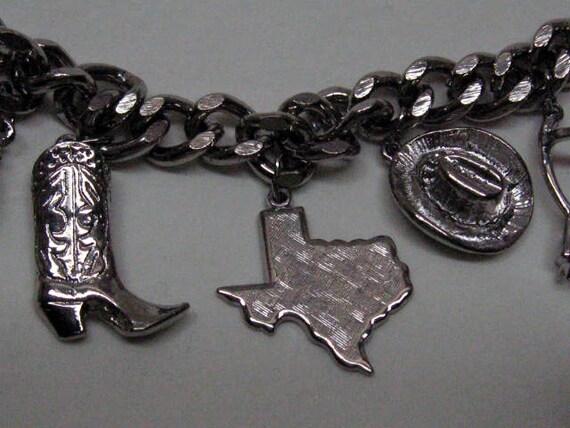 Vintage Silvery Silver Texas Cowboy Wild West Charm Bracelet
